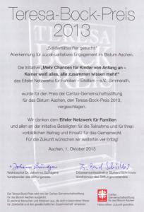Teresa-Bock-Preis: Urkunde